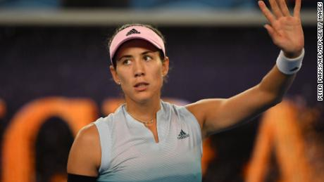 Garbine Muguruza celebrates after victory over Britain's Johanna Konta.