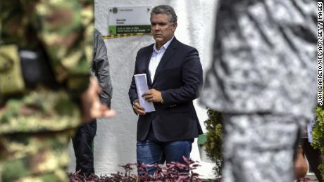 Colombian President Ivan Duque at the police cadet training school in Bogota after the attack.