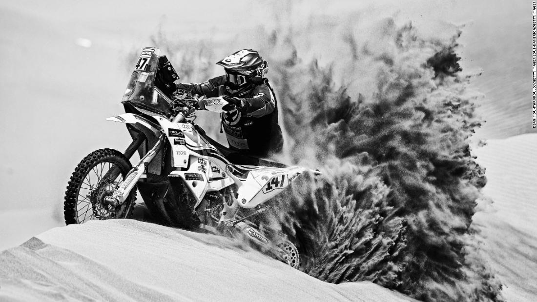 Richard Main leaves a massive trail of sand in his wake on board his Redline KTM on stage six.