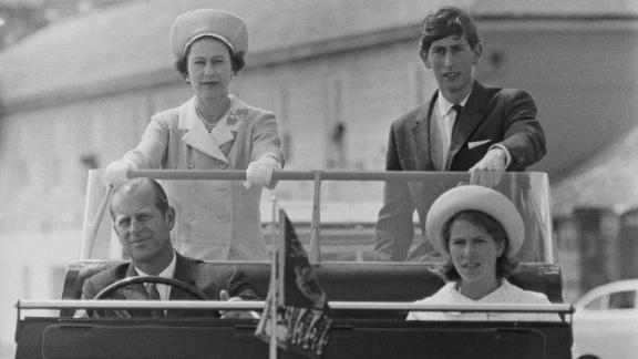 Prince Philip drives his family during a visit to the Isles of Scilly in 1967.