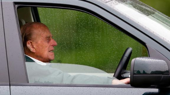 The Duke of Edinburgh sits in his Land Rover at the Royal Windsor Horse Show in May 2015.
