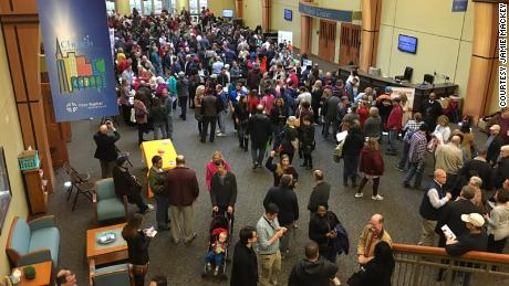 An estimated 2,000 people attended an event aiding furloughed federal workers at the First Baptist Church in Huntsville, Alabama.