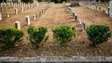 Graves of Confederate soldiers line Oakland Cemetery.