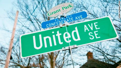A small blue marker indicates the former name of United Avenue in Atlanta's Grant Park neighborhood.