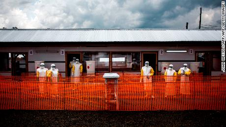 Health workers inside a new MSF (Doctors Without Borders) Ebola treatment center in Bunia, Democratic Republic of the Congo.