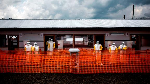 Health workers inside the red zone at a new MSF (Doctors Without Borders) Ebola treatment center in Bunia, Democratic Republic of the Congo.