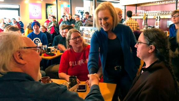 Sen. Kirsten Gillibrand, D-N.Y. greets patrons at Stomping Grounds Cafe in Ames, Iowa, on Saturday, Jan. 19, 2019. Gillibrand continued her first trip to the leadoff caucus state since announcing the formation of an exploratory committee to seek the 2020 Democratic presidential nomination.