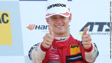 HOCKENHEIM, GERMANY - OCTOBER 14: Mick Schumacher #4 reacts after winning the Formula 3 Championship at the final race of the Formula 3 Championship at Hockenheimring on October 14, 2018 in Hockenheim, Germany. (Photo by Christian Kaspar-Bartke/Bongarts/Getty Images)
