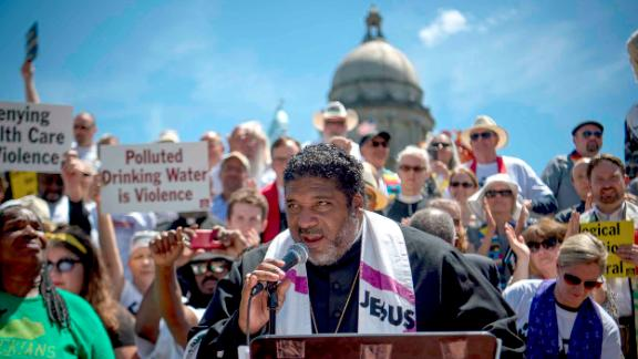 Reverend William J. Barber speaks to demonstrators at a protest organized by the Kentucky Poor People's Campaign in Frankfort, Kentucky, on June 4, 2018.