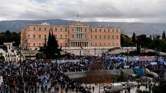 Protesters gather on Sunday during a demonstration  outside the Greek Parliament against the agreement with Skopje to rename the neighboring country, Macedonia, as the Republic of North Macedonia.