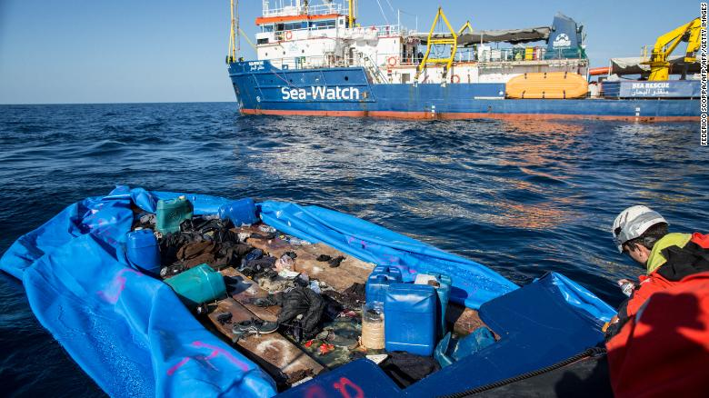 NGO Sea Watch 3 rescued 47 migrants onboard a rubber boat off Libya's coast on January 19, 2019.