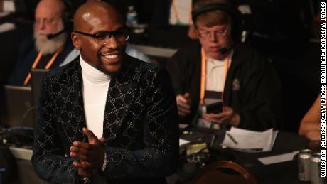 Floyd Mayweather attends the WBA welterweight championship between Manny Pacquiao and Adrien Broner.