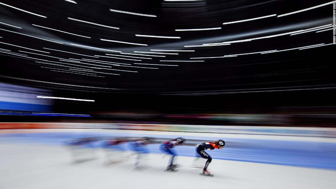 Lara van Ruijven of Netherlands leads the pack in the Ladies 1000m final during the ISU European Short Track Speed Skating Championships at Sportboulevard on Sunday, January 13.