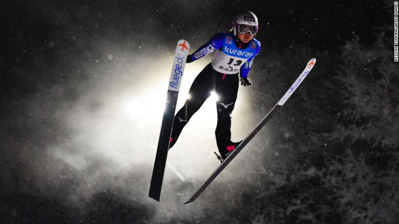 Misaki Shigeno of Japan competes during day one of the FIS Ski Jumping World Cup in Yamagata, Japan, on Friday, January 18.