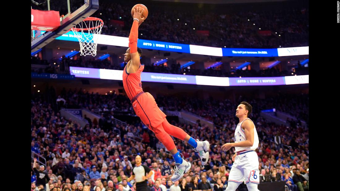 Oklahoma City Thunder's Russell Westbrook dunks past Philadelphia 76ers' Landry Shamet during the first half of an NBA game on Saturday, January 19, in Philadelphia.