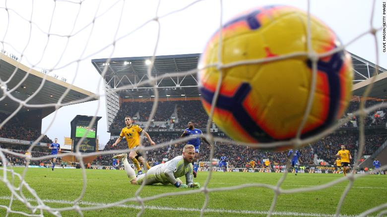 Diogo Jota of Wolverhampton  scores during a Premier League match against Leicester City at Molineux on Saturday, January 19.