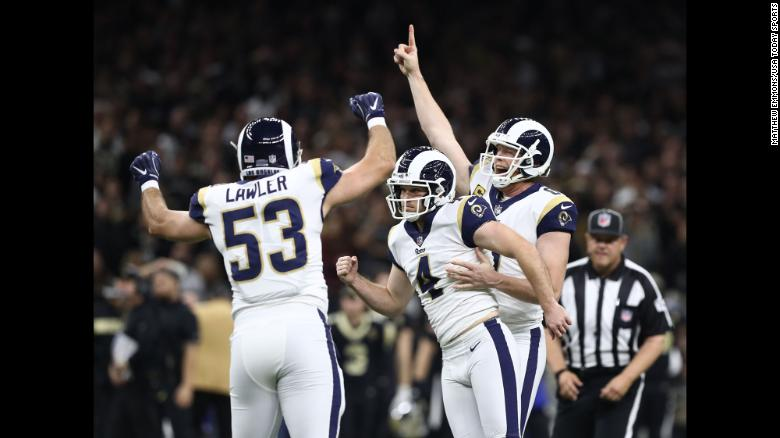 """Los Angeles Rams kicker Greg Zuerlein, center, celebrates with punter Johnny Hekker, right,  and defensive end Justin Lawler after kicking a 57-yard game-winning field goal against the New Orleans Saints on Sunday, January 20. The Rams will face the New England Patriots in Super Bowl LIII on February 3. <a href=""""https://www.cnn.com/2019/01/13/sport/gallery/what-a-shot-sports-0113/index.html"""" target=""""_blank"""">See 35 amazing sports photos from last week.</a>"""