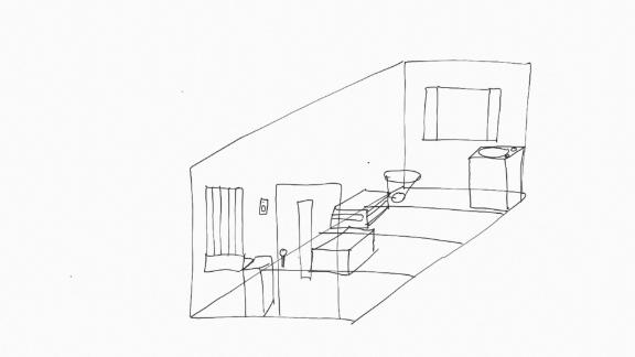 A sketch by Karpeles of his jail cell.