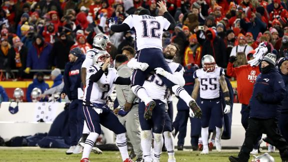 Tom Brady of the New England Patriots celebrates with teammates after they defeated the Kansas City Chiefs in overtime.