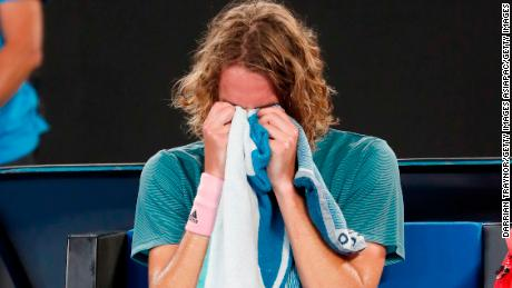 Stefanos Tsitsipas takes it all in after seeing off his idol Roger Federer in Melbourne.