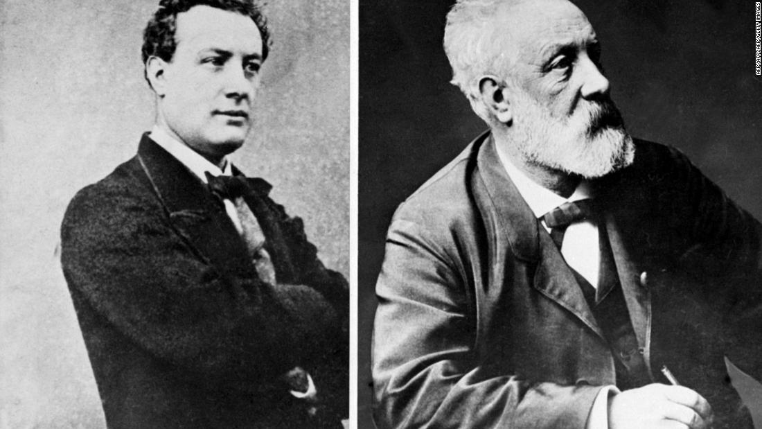 French writer Jules Verne (1828-1905), was a pioneer of the science-fiction novel. The young Verne is pictured on the left and on the right, shortly before his death.