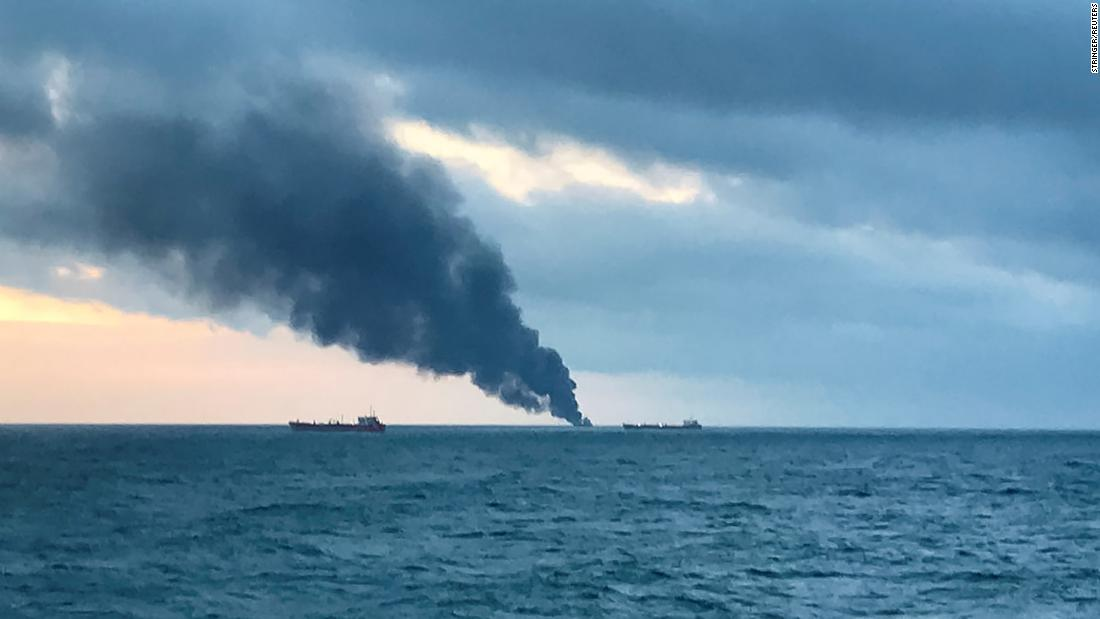 Two ships catch fire in Kerch Strait near Crimea; deaths reported