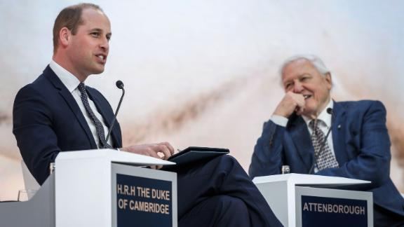 Britain's Prince William, Duke of Cambridge (L) and British naturalist, documentary maker and broadcaster David Attenborough attend a conversation during the World Economic Forum (WEF) annual meeting, on January 22, 2019 in Davos, eastern Switzerland. (Photo by Fabrice COFFRINI / AFP)        (Photo credit should read FABRICE COFFRINI/AFP/Getty Images)