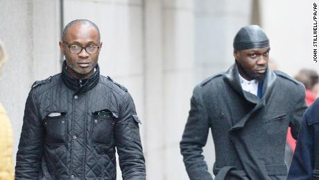 Sodje Sports Foundation court case. Bright and Efe Sodje (right) at the Old Bailey, London where they were sentenced to prison for fraudulent trading in 2017.