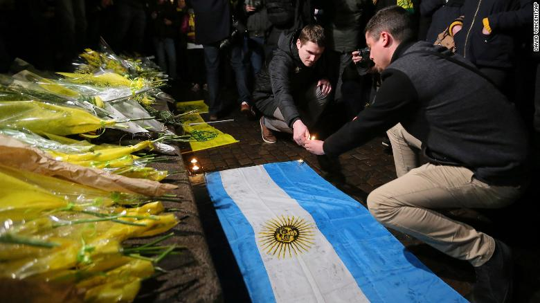 Supporters gather to pay tribute to Argentinian soccer player Emiliano Sala, in Nantes, western France,
