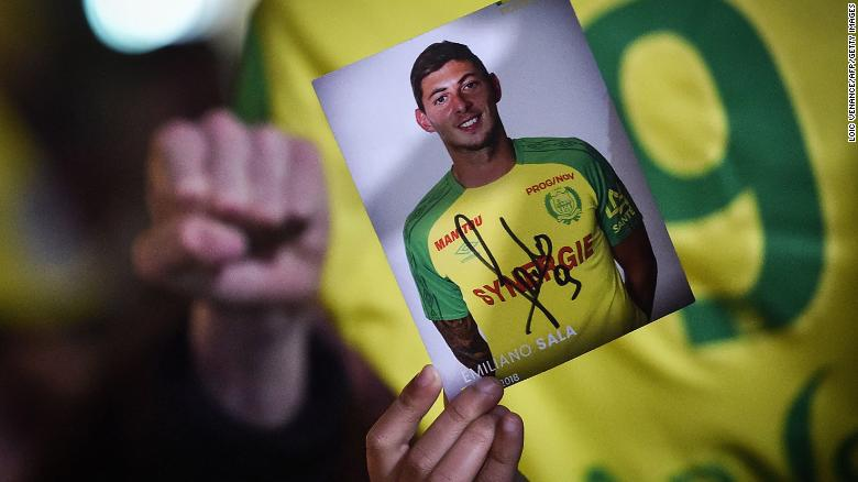 Nantes supporters gather after it was announced that the plane Argentinian forward Emiliano Sala was flying in vanished.