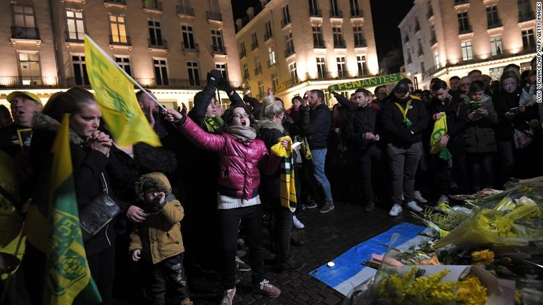 Nantes football club supporters gather after it was announced that the plane Argentinian forward Emiliano Sala was flying on vanished.