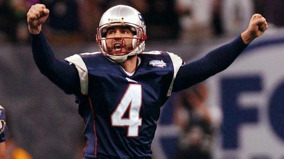 Patriots kicker Adam Vinatieri celebrates his game-winning field goal.