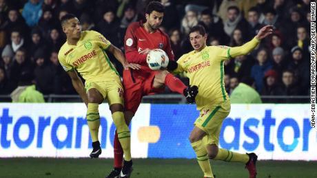 c627a722b Yacine Bammou (L) and Nantes  39  Argentinian forward Emiliano Sala during  the