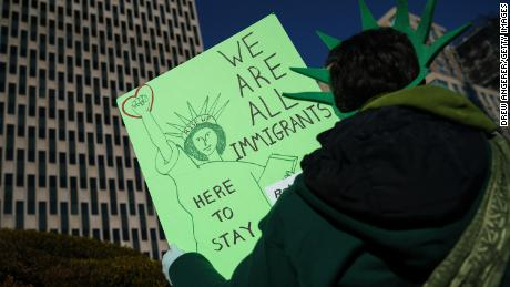NEW YORK, NY - JANUARY 18: Immigration activists and clergy members participate in a silent prayer walk in protest against the Trump administration's immigration policies outside the U.S. Citizenship and Immigration Services offices, housed in the Jacob Javits Federal Building, January 18, 2018 in New York City. Yesterday, White House Chief of Staff John Kelly said President Trump will not support an extension of DACA (Deferred Action for Childhood Arrivals) or an immigration reform bill unless it includes upwards of $20 billion in funding for a southern border wall. (Photo by Drew Angerer/Getty Images)