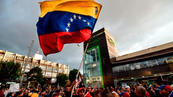 Venezuelans opposed to President Nicolas Maduro hold a demonstration in Bogota, Colombia in support of opposition leader Juan Guaido