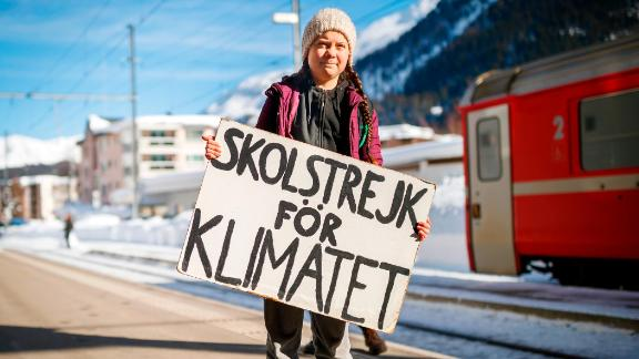 Greta Thunberg arrives in Davos on Wednesday by train.