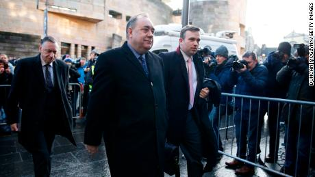 Alex Salmond,  former First Minister of Scotland, arrives at Edinburgh Sheriff Court on Thursday after being arrested and charged by police.