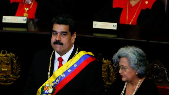 Venezuelan President Nicolas Maduro speaks Thursday at Venezuela's Supreme Court.