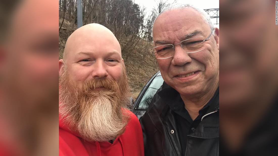 Colin Powell gets roadside help from Afghanistan veteran