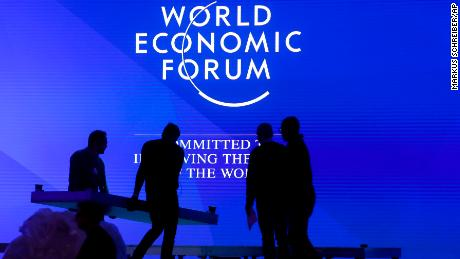 People set up the main stage at the congress center where the annual meeting of the World Economic Forum 2019. (AP Photo/Markus Schreiber)