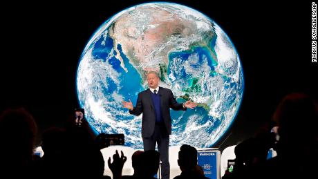 Al Gore, former vice-President of the United States, speaks during the World Economic Forum in Davos.