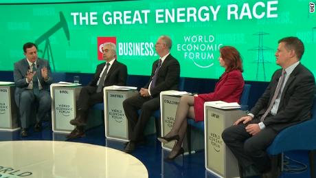 "CNN's John Defterios hosts ""The Great Energy Race"" panel at 2019 Davos."