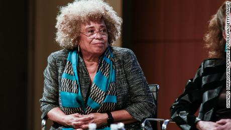 Angela Davis attends an event celebrating Groundswell, a New York social justice group, at the City University of New York on April 6, 2017.