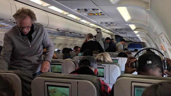 """Doug Behm is on a Jet Blue flight 1533 from JFK airport, New York City to Cartagena, Colombia. He tweeted: """"Was supposed to leave at 7.51 AM. Taxied for a while, then back to the gate to refuel. Delayed due to staffing issues caused by the Government shutdown."""""""