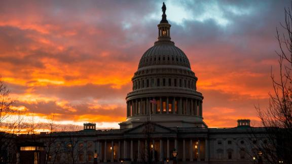 The Capitol at sunset on Thursday, January 24, after the Senate rejected Democratic and Republican proposals for ending the shutdown.