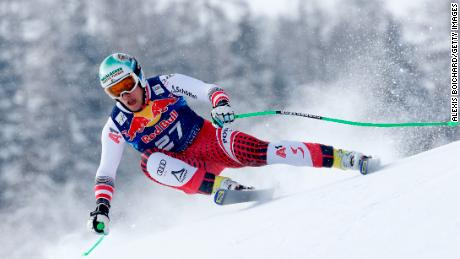 Otmar Striedinger of Austria grabs a surprise third place at Kitzbuhel.