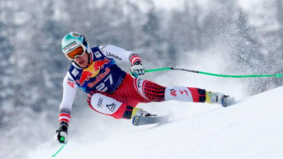 Otmar Striedinger of Austria grabs a surprise third place at Kitzbuhel.