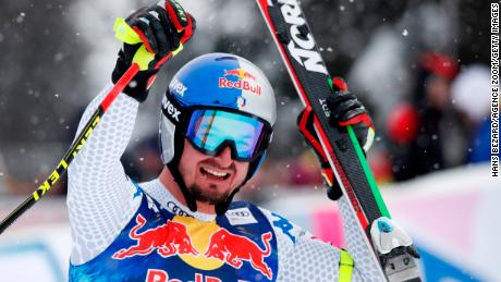 Dominik Paris of Italy won his third downhill title at Kitzbuhel.