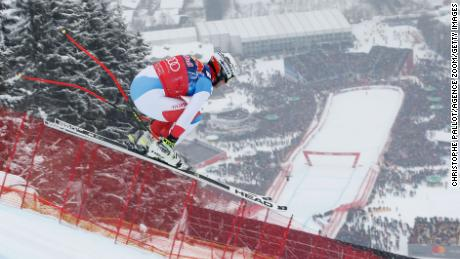 Beat Feuz of Switzerland flies towards the finish of the Kitzbuhel downhill.