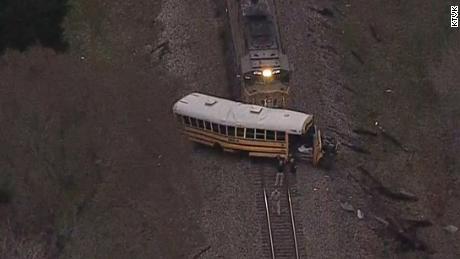 Child killed in train-bus collision